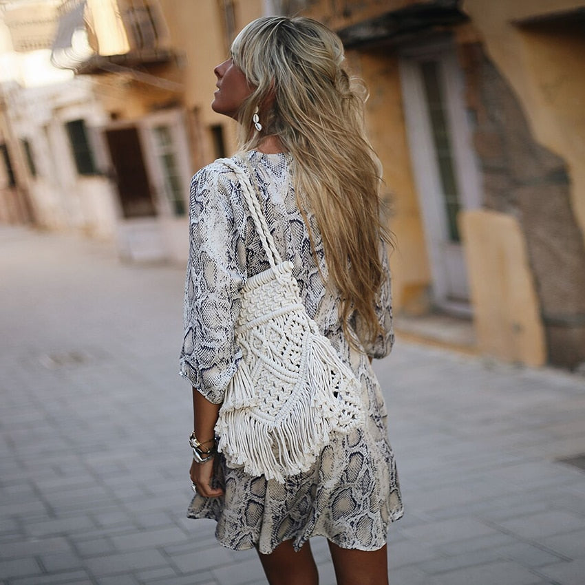 Rust Snake Print Plunge Neck Wrap Dress