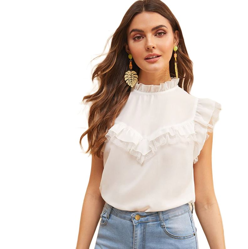 Sleeveless Ruffle White Blouse