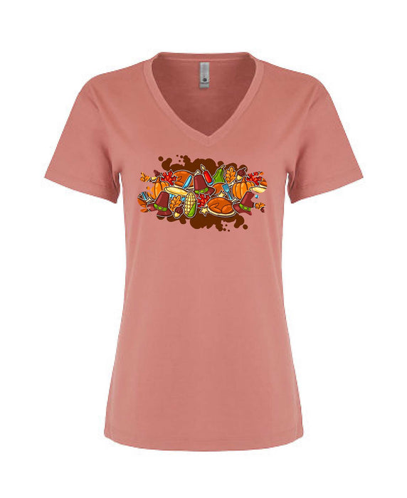 Thanksgiving Graphic Tee - Women's V-Neck - TeesForHumanity