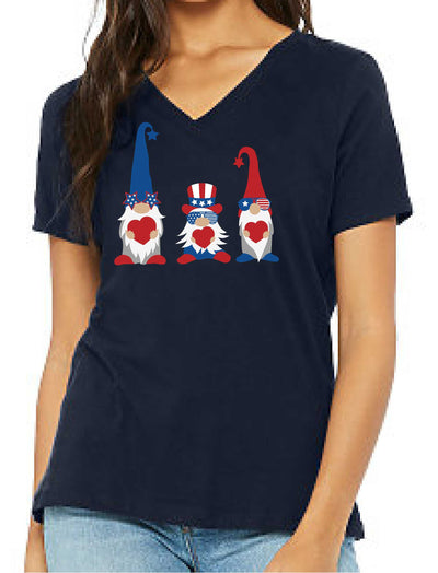 Patriotic Gnomes with Hearts (Women's V Neck) - TeesForHumanity
