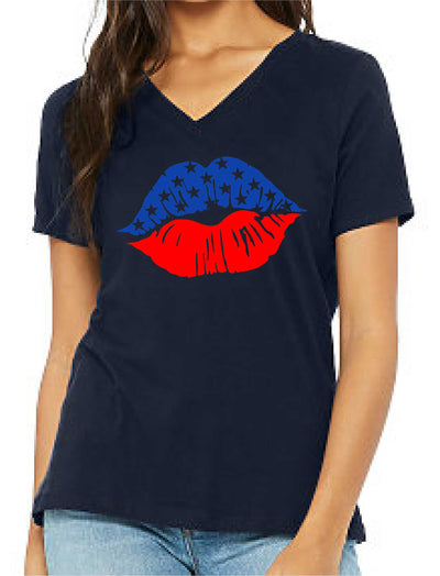 Patriotic Kiss (Women's V Neck) - TeesForHumanity
