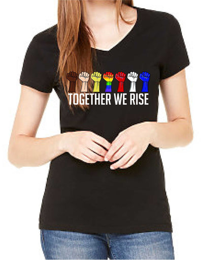 Together We Rise (Women's V-Neck) - TeesForHumanity