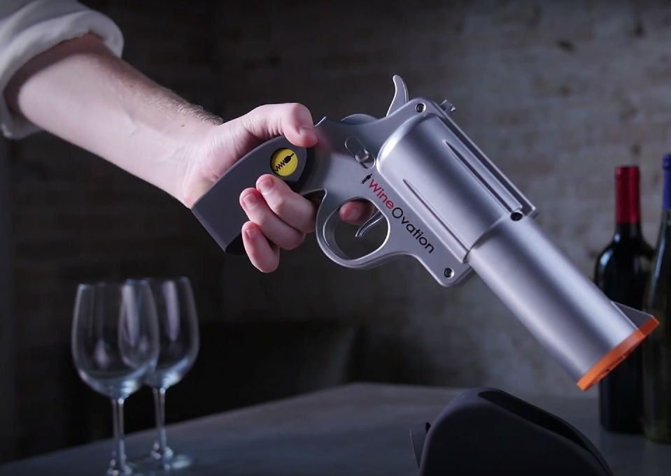 WNO-01CH Powered Electric Wine Opener Gun, (Simulated Chrome)