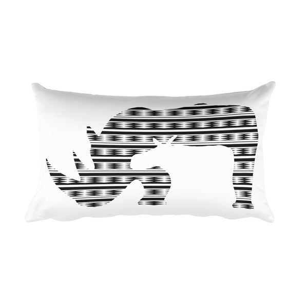 RHINO NEW LIFE PRINT Rectangular Pillow - Wear for Wild