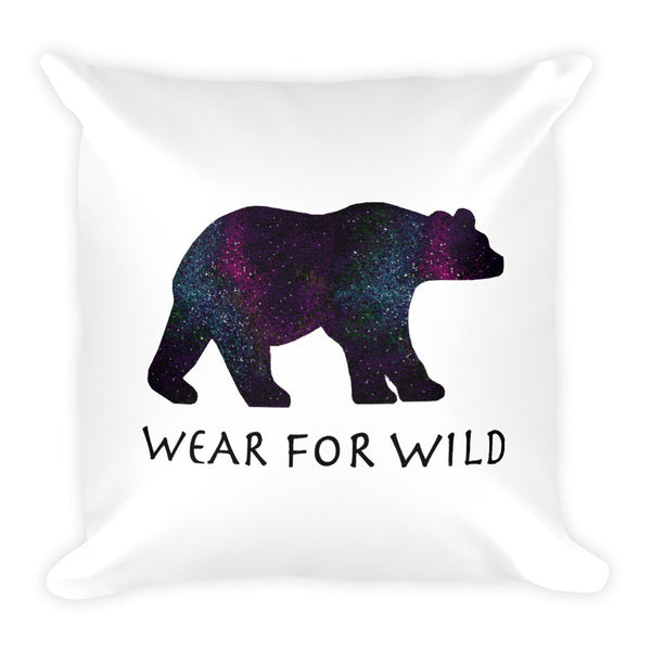 BEAR SPACE PRINT Square Pillow - Wear for Wild