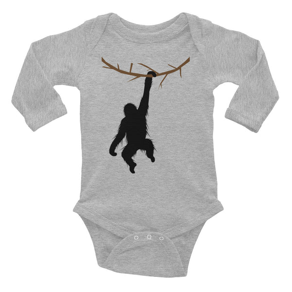HANGING ORANGUTAN Infant Long Sleeve Bodysuit- MORE COLORS - Wear for Wild