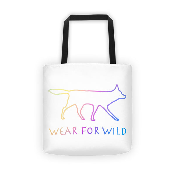 RED WOLF RAINBOW OUTLINE Tote bag - Wear for Wild