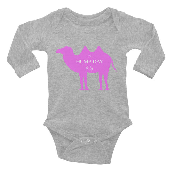 IT'S HUMP DAY BABY pink Infant Long Sleeve Bodysuit- MORE COLORS - Wear for Wild