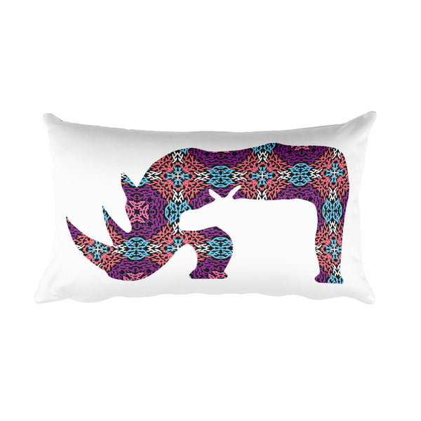 RHINO CORAL PRINT Rectangular Pillow - Wear for Wild