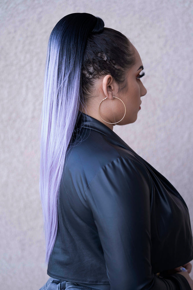 Ponytail Straight Black to Lavender PT1