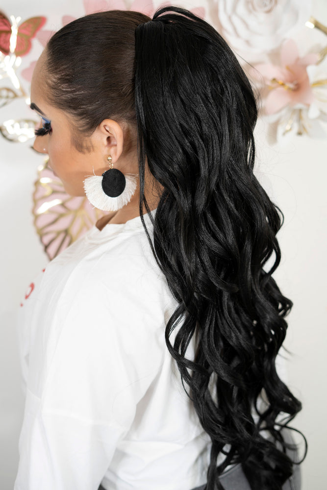 Black Soft Curl Ponytail PT147