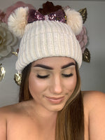 Cream and Rose Gold Bow Beanie BB315
