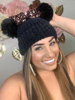 Black and Rose Gold Bow Beanie BB311