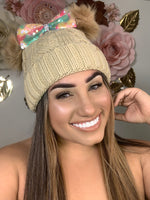 Beige Colorful Bow Beanie BB312