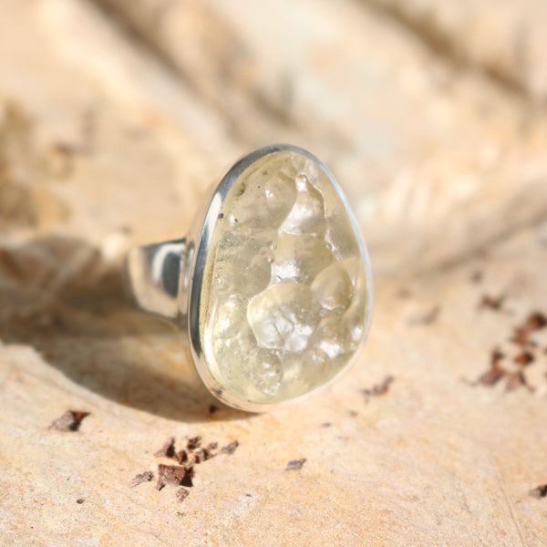 Libyan Desert Glass Ring | Size 8