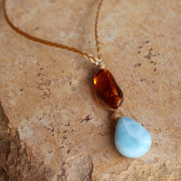 Larimar Amber Vegan Sinew Necklace
