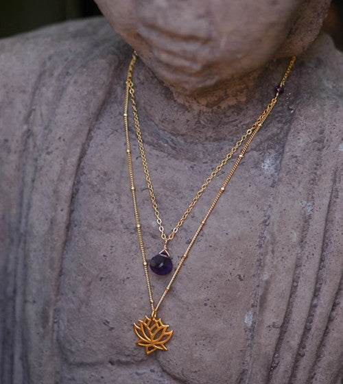 Double Necklace with Lotus and Gemstone