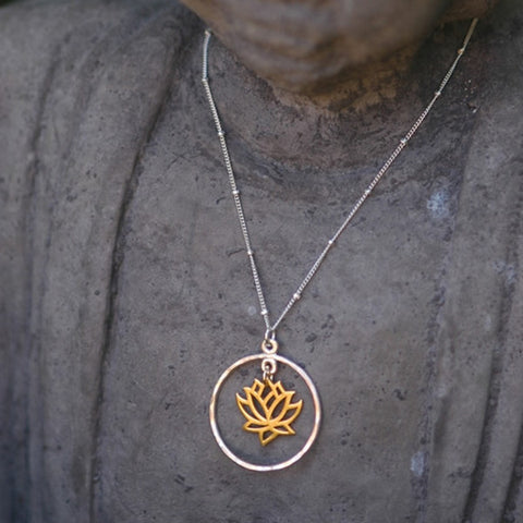 Silver Lotus Flower in Gold Circle Necklace