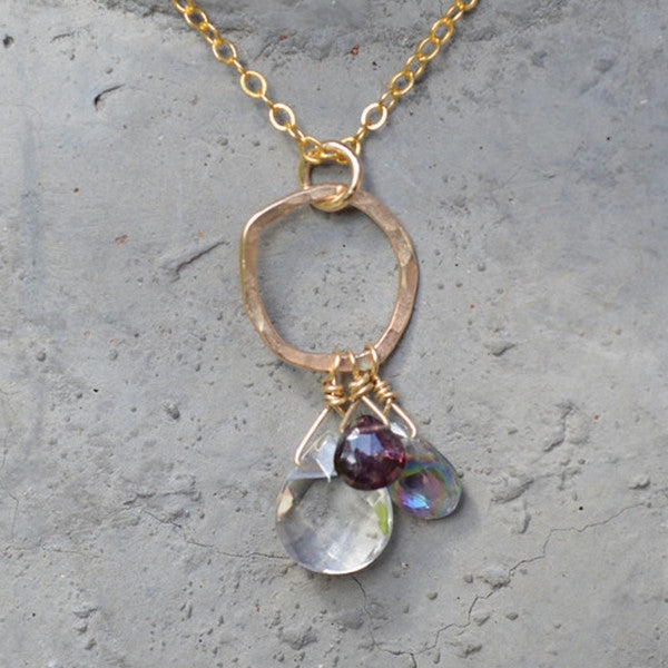 Organic Circle Necklace with Gemstones