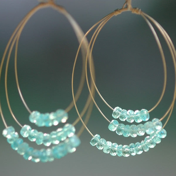 Triple Hoops with Gemstones