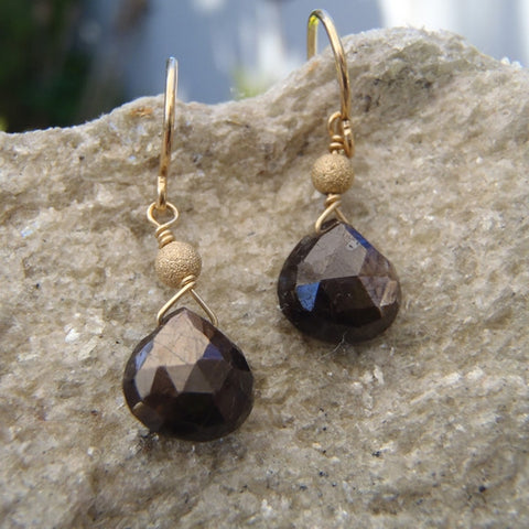 Black Sapphire and Stardust Bead Earrings