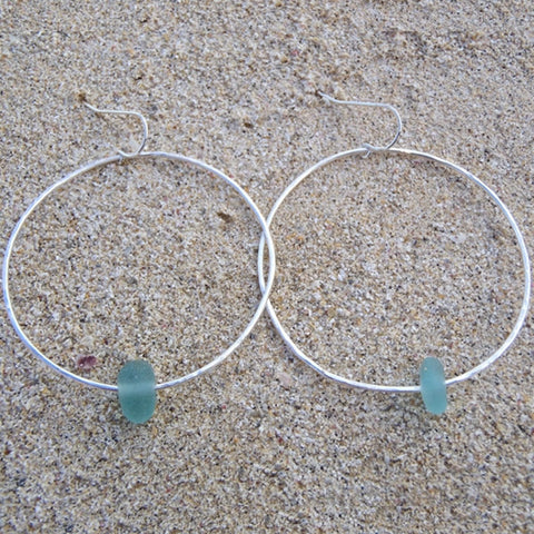 Hoops with Beach Glass