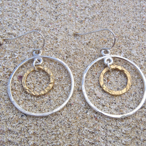 Gold and Silver Circle Earrings