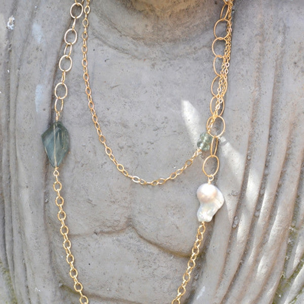 Keishi Pearls and Moss Aqua Necklace