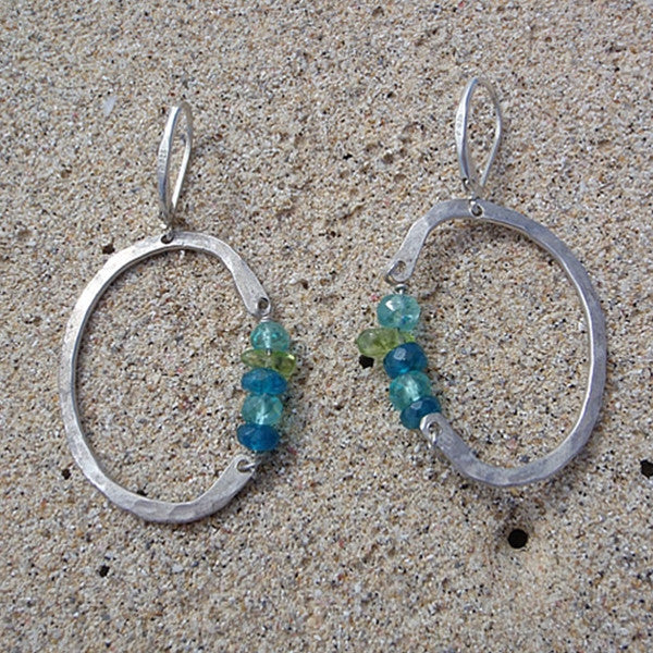 Half Circle and Stone Earrings