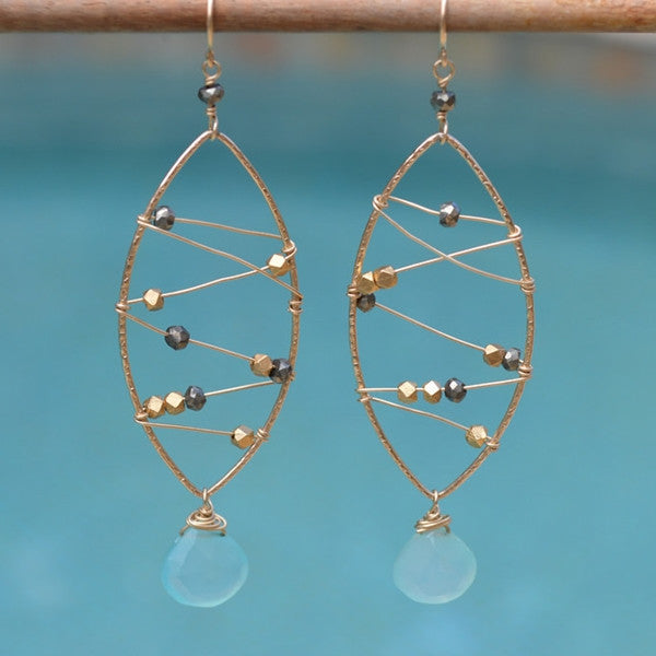 Web Earrings with Gemstones