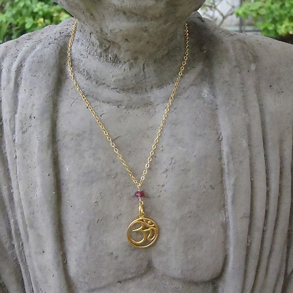 Om with Gemstone Necklace in Gold Filled