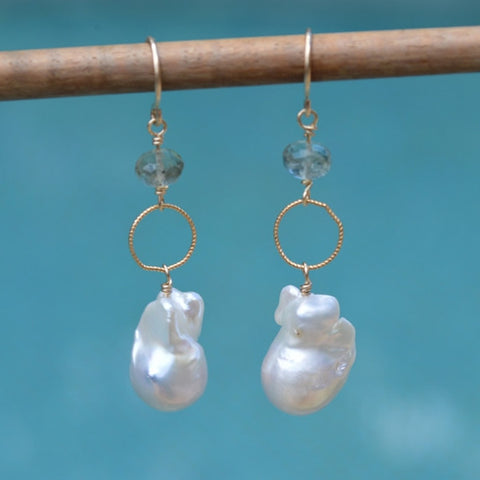 Keishi Pearls and Moss Aqua Earrings