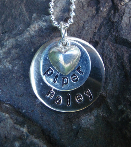 Disks and Heart Necklace