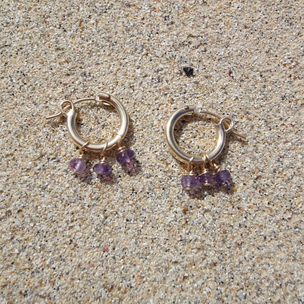 Gold Hoops with Gemstone Earrings
