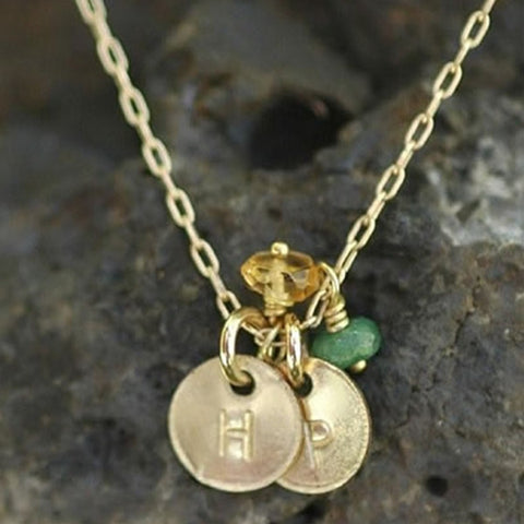 Tiny Engraved Disk Necklace with Gemstones in Gold Filled
