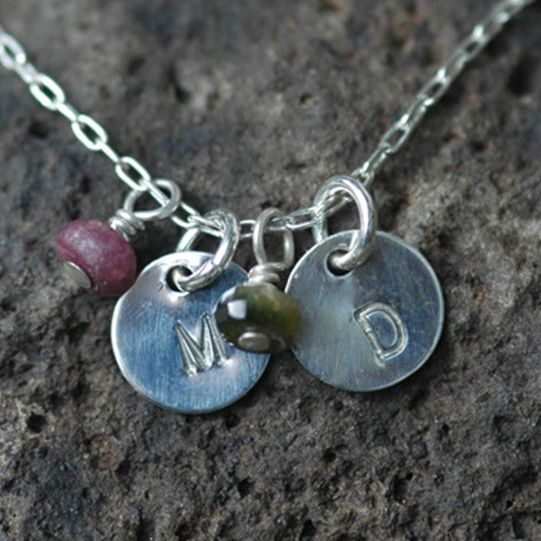 Tiny Engraved Disk Necklace with Gemstones in Sterling Silver