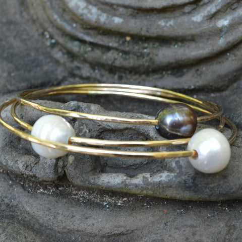 Bangle with Pearl  - Gold filled