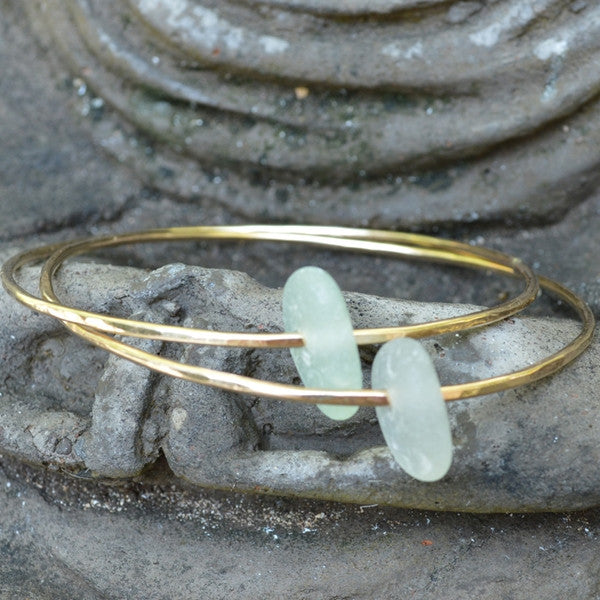 Bangle with Sea Glass - Gold Filled