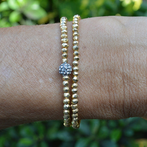 Gold Pyrite Wrap Bracelet