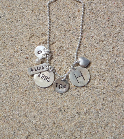 Engraved Charm Necklace in Sterling Silver