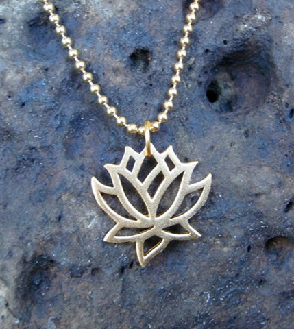 Floating Lotus Necklace in Gold