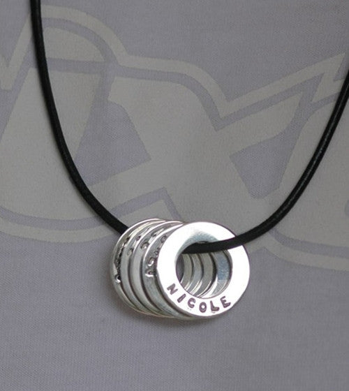 Men's Engraved Washer Necklace on Leather
