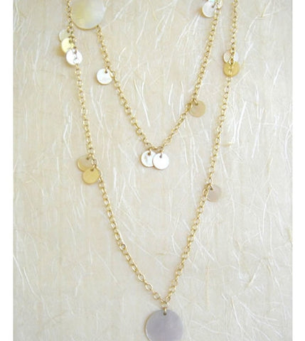 Mother of Pearl Disks Opera Necklace