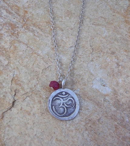 Om Necklace with Gemstone
