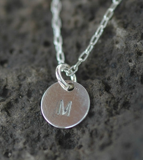 Tiny Engraved Disk Necklace in Sterling Silver