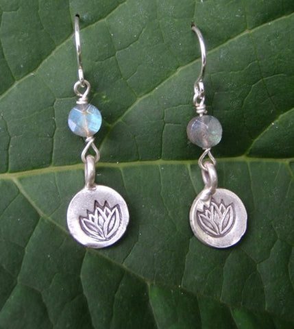 Lotus Flower Earrings with Labradorite