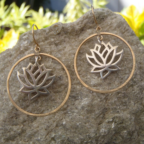Silver Lotus in Gold Circle Earrings