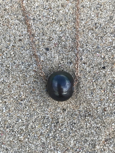 Black Pearl Solitaire Necklace