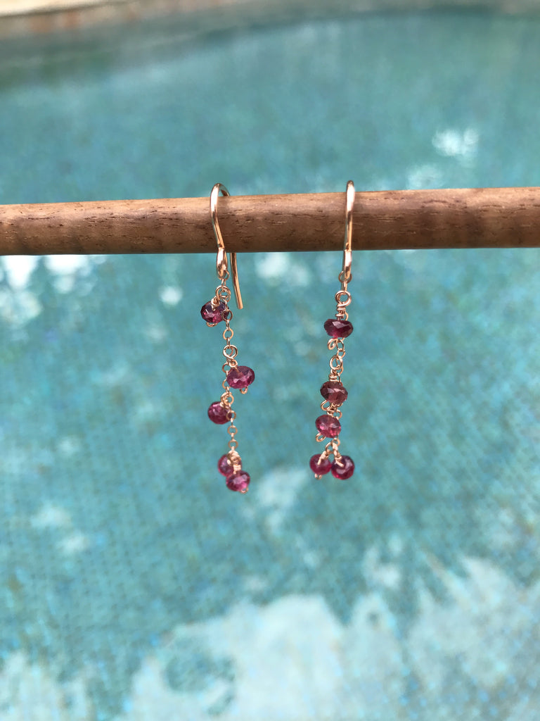 Pink Tourmalines on Rose Gold Filled Earrings