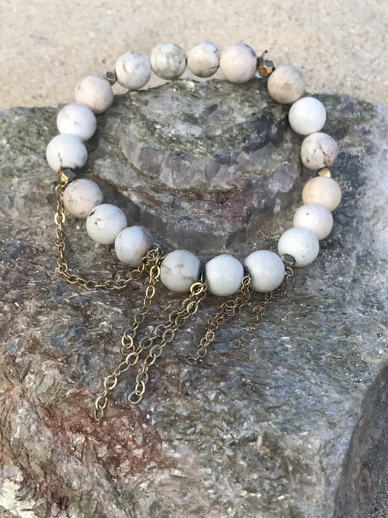 Lacey Gold and Howlite Stretch Bracelet